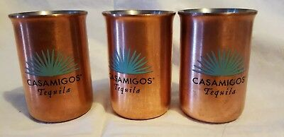 Set of 3 Casamigos Tequila Copper Shot Glasses. Used.