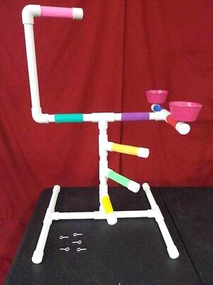 """Large 3/4"""" PVC Parrot Perch Play Gym Stand  Birds Love Them!"""