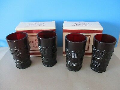 Vintage Avon 1876 Cape Cod Ruby Red Tall Beverage Glass Set Of 4