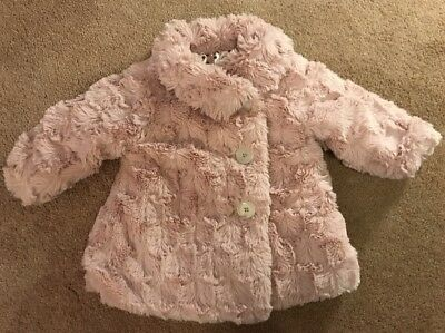 Baby Girls Nutmeg Faux Fur Coat Pale Pink Age 6-9 Months Used VGC !