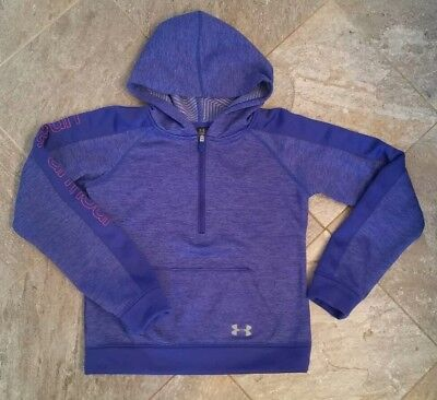 Girls Under Armour cold tech purple Hoodie Youth Small 3/4 zip pull over