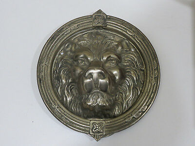 Antique Vintage Large Heavy Solid White Brass Lion Face Door Knocker