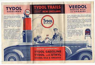 1932 New England Road Map From Tydol Gasoline And Veedol Motor Oils And Greases