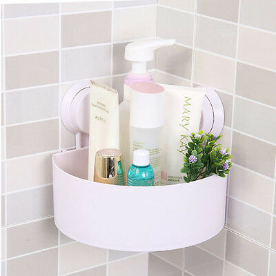 Plastic Suction Cup Bathroom Kitchen Corner Storage Rack Shower Shelf Organizer
