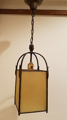Antique  Gothic Tudor Pendant Light  Staind Glass