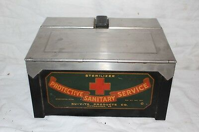 Vintage 1930's Sterilizer Hospital Doctor Medicine Drug Metal Cabinet Sign