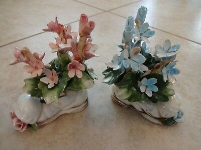 2-VTG NUOVA CAPODIMONTE Italy Porcelain Blue/pink flowers Shoe Boot Figurines