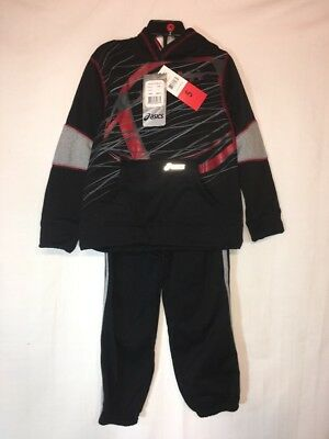 Boys Red & Black Graphic Asics 2 Pc Track Suit Size 5 Nwt