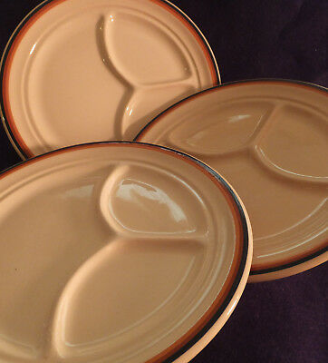 Inca Ware,Shenango China,Vintage,3 Divided Grill plates,New Castle,Pa.U.S.A.