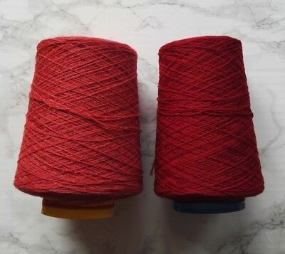 Machine Knitting Yarn Cone Lambswool - Lot of 2 Red Rouge Radish Craft Crochet