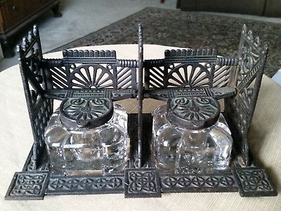 Antique Eastlake Double Inkwell Inkstand Queen Anne Victorian Art Nouveau Celtic