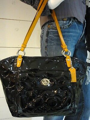 COACH Leah Embossed Patent Leather Tote Shoulder Bag Black #F14663