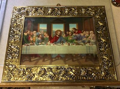 Amazing Vintage Arts Crafts Deco Brass Framed Last Supper Print Italy OLD