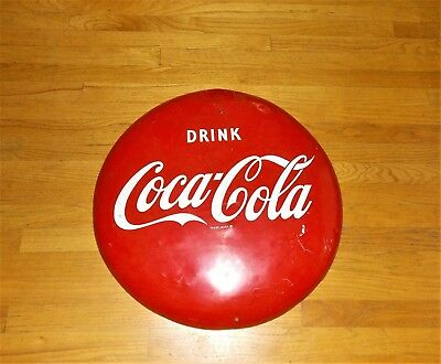Coca Cola Button Sign 24 inches, AM 53 with white dot after the 3 on edge, 1963