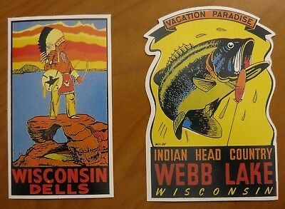 NEW Vintage Travel Souvenir Stickers WISCONSIN Dells Indian Head Ctry Webb Lake