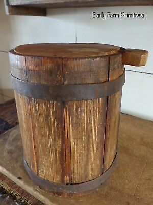 Rare 19Th Century Early Antique Primitive Lidded Staved Piggin Heavy Iron Banded
