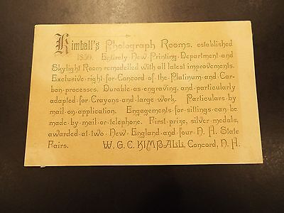 Kimball's Photo Studio Advertising Card 1900s