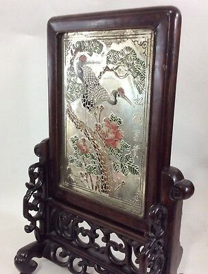 Antique Chinese Or Japanese Reverse Silvery Painting on Glass Mirror