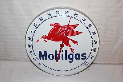 """Vintage 1960's Mobil Mobilgas Gas Station 12"""" Metal & Glass Thermometer Sign"""