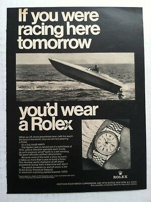 1969 Rolex Print Advertising - If You Were Racing Here Tomorrow Watch Ad