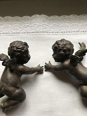 Wonderful Pair Of Antique Bronze Sculptures: Cherubs Valentine Cupids - Tiebacks