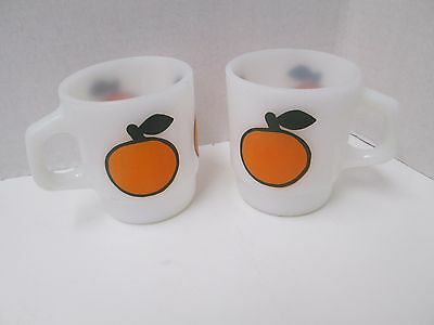 Vintage Fire King Super Fruit Orange Stacking Mug PAIR