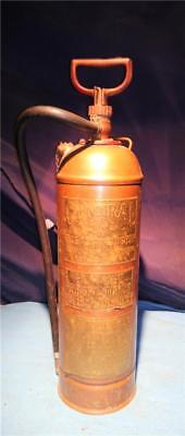 Vintage Antique Central Fire Extinguisher Brass Copper Steampunk Riveted