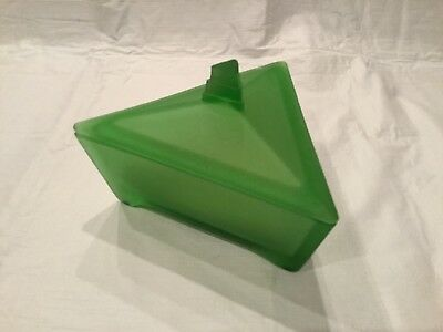 Ramses Paris New York Triangle Green Satin Glass Powder Jar, Lid + Puff
