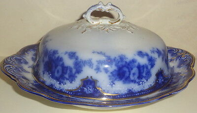 VHTF W. H. Grindley FLOW BLUE COVERED BUTTER DISH & LINER in the FLORIDA PATTERN