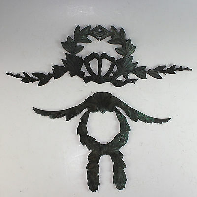 Two Antique French Cast Bronze Pediments, Appliques