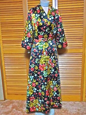 1950's Quilted Satin Wrap Swing Robe Black With Roses Rhapsody by Glazier Sz M