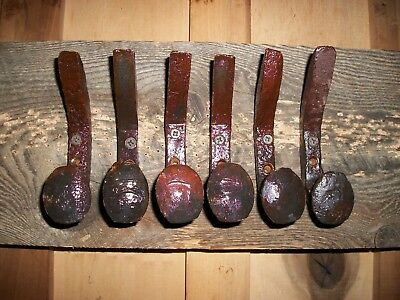 6 Double Bent Coat Hooks Or Hangers Railroad Spikes Also Horse Tack-Shop-Tool
