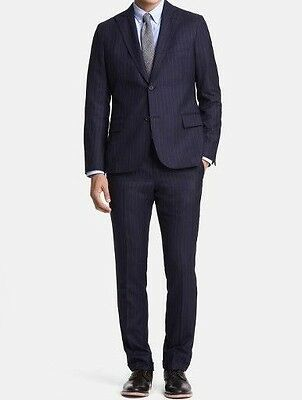 Todd Snyder x Southwick Navy Wool Pinstripe Suit Size 46 Slim Fit Modern Recent