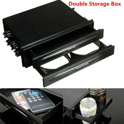 1PC Durable Car truck Double Din Radio Pocket Drink-Cup Holders Storage Box New