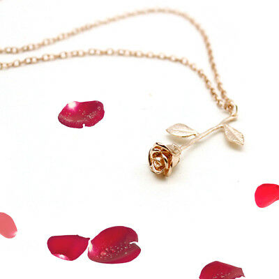 New Fashion Rose Flower Leaf Pendant Necklace Chain Women Lover Gift Jewelry