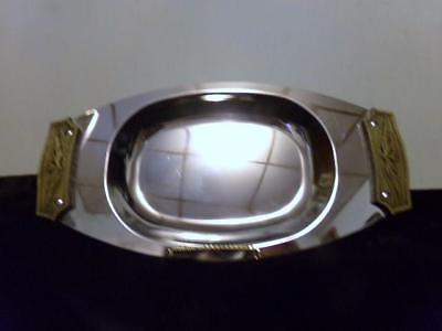 Vintage Mid Century Kromex Chrome Serving Tray With Pewter Color Handles