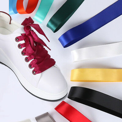 2CM Wide Fashion Various Colors Flat Smooth Shoelaces Ribbon Satin Shoe Laces AU