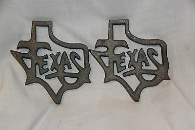 (2) Cast iron State of Texas outline wall plaque Lone Star State western decor