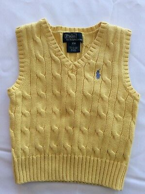 POLO RALPH LAUREN  Boys Baby sleeveless POLO sweater  Size 12M  12 Months vest