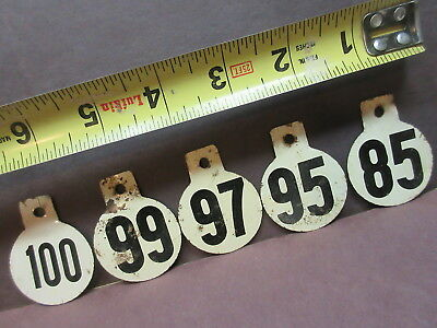 5 vintage cow tags numbered both sides ear or pen tin or thin metal tags decor