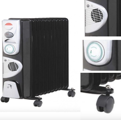 Portable 11 Fin 2900W Oil Filled Radiator Winter Heater with Thermostat in Black