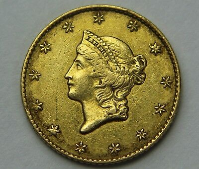 1849-P Liberty Head Gold Dollar $1 Open Wreath 22k Old US Coin NR Free Ship W042