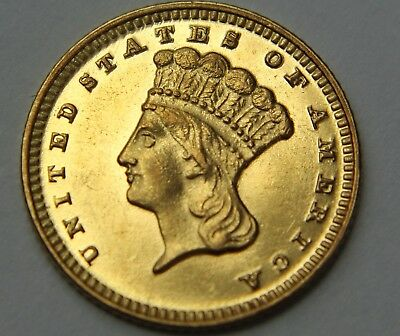 1874-P Indian Princess Head Gold Dollar $1 Proof ? PF PL Cameo 22k US Coin W036
