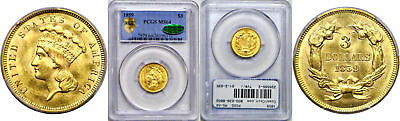 1859 $3 Gold Coin PCGS MS-64 CAC
