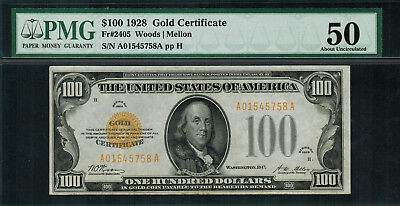 1928 $100 Gold Certificate FR-2405 - PMG 50 - About Uncirculated