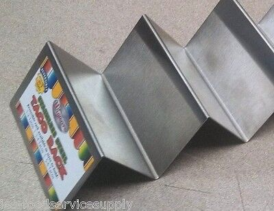 (LOT OF 6) STAINLESS TACO SHELL SERVER HOLDER RACK 2 to 3 SOFT OR HARD SHELLS