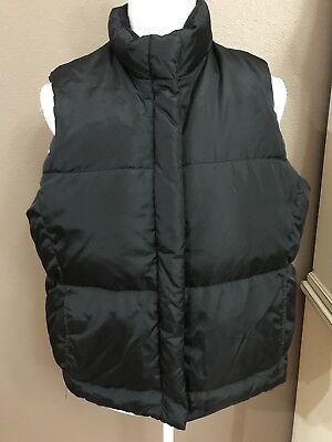 Gap Womens Large Black Puffy Vest Fleece Lined GUC Nice!
