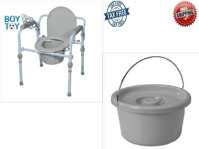 Folding Bedside Commode Seat with Commode Blue Bucket and Splash Guard Powder