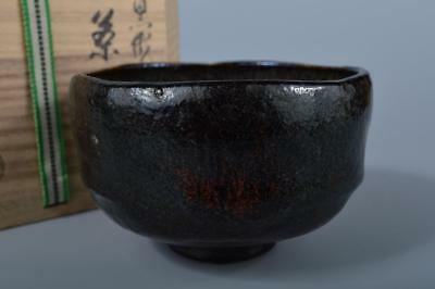 K226: Japanese Old Raku-ware Black glaze TEA BOWL Green tea tool, Shoraku made