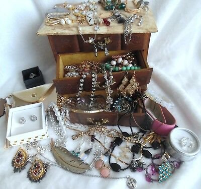 Large Lot of Vintage/Mixed Jewelry In Vintage Wood Jewelry Box w/925 signed more